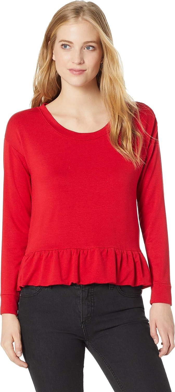 BB DAKOTA Women's Junior got it Goin on French Terry Ruffle Hem Sweatshirt Sweater, Bright red, Small
