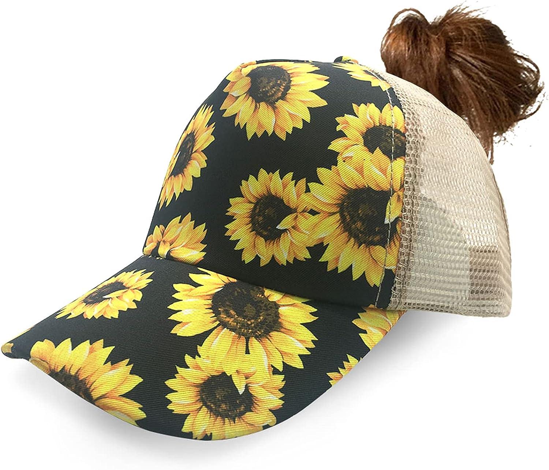 RONGASD Womens Ponytail Trucker Hat Sunflower Baseball Cap Sunflower Ponycap Bun Hats