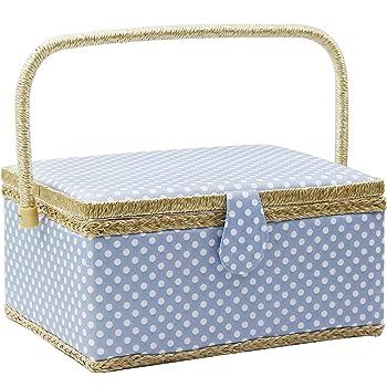 D&D 裁縫箱 大きなソーイングボックス 大容量縫製箱水玉 裁縫セット 収納 30.5*23*16cm (青)