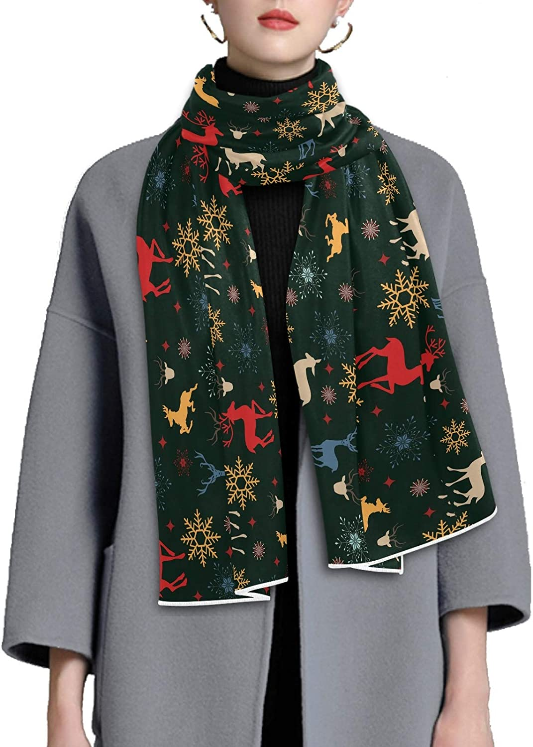 Scarf for Women and Men Christmas Reindeer Blanket Shawl Scarves Wraps Thick Soft Winter Large Scarves Lightweight