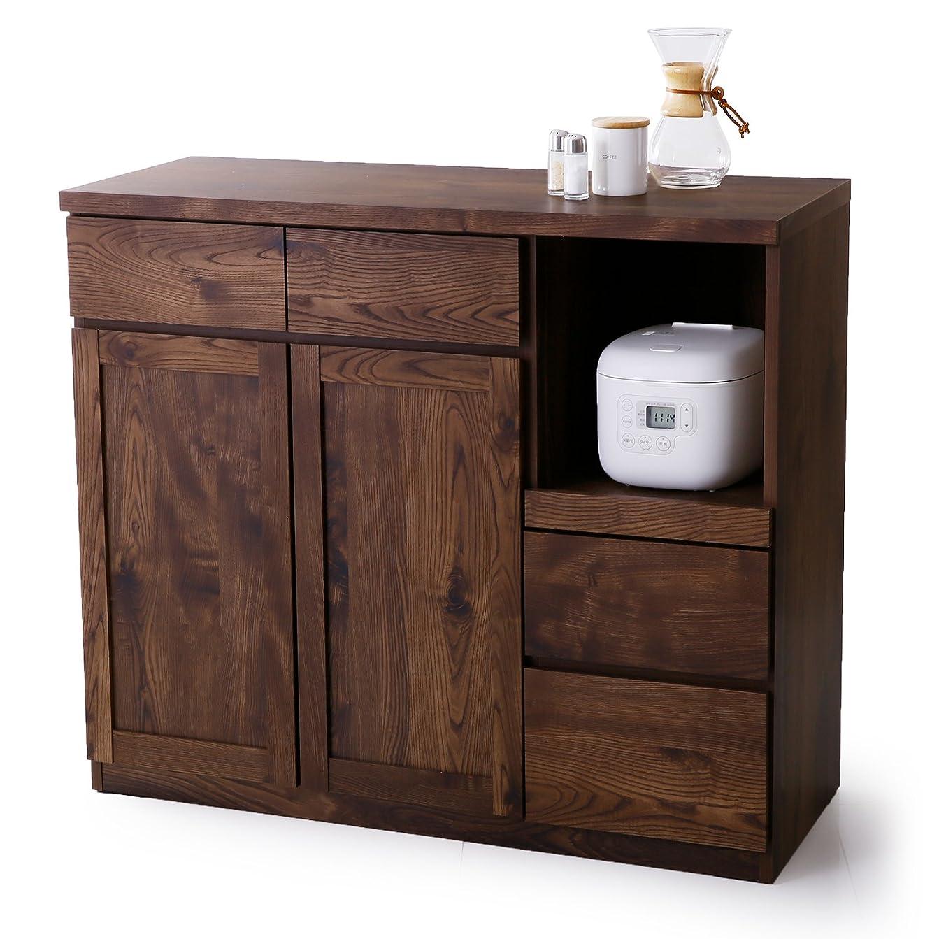 分離知人表現LOWYA キッチンカウンター レンジ台 引き出し 可動棚 ロータイプ 国産 幅105 ブラウン