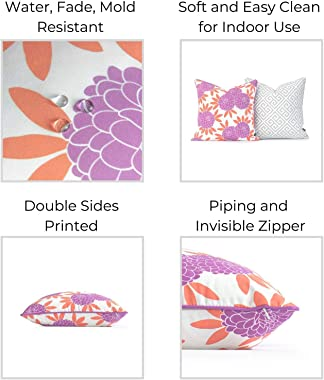 Hofdeco Spring Garden Indoor Outdoor Pillow Cover ONLY, Water UV Resistant for Patio Lounge Sofa, Purple Coral Gray Maze Chin