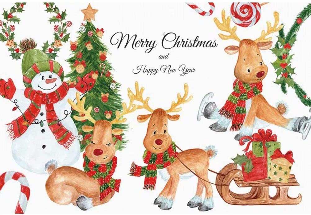 DaShan 6.5x6.5ft Happy New Year Merry Christmas Backdrop Christmas Wreath Garland New Year Eve Celebration Party Photography Background Christmas Bells Candy Cane Party Decor YouTube Photo Props