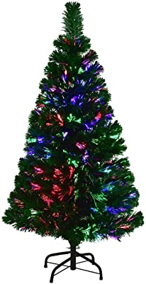 COSTWAY 4 FT Artificial PVC Christmas Pre-Lit Fiber Optic Tree with Metal Stand, Green