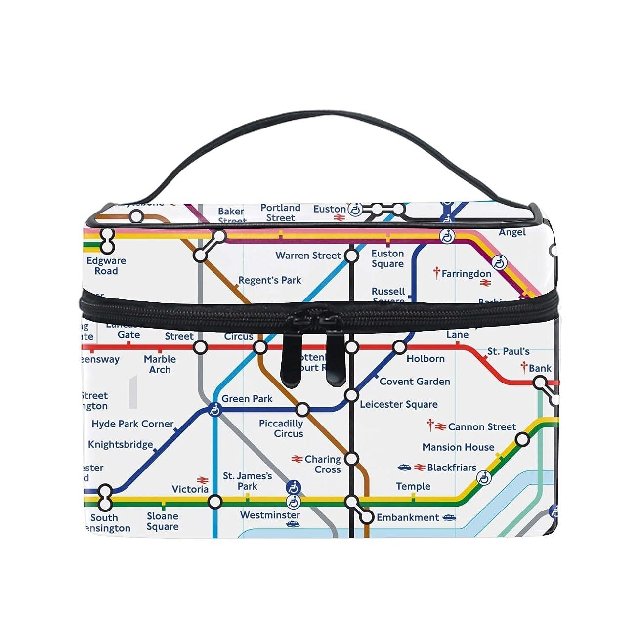 招待故意の土Local Map Of London Undergroundコスメ 化粧 ポーチ レディース 大容量 コンパクト 中身が見やすい 防水 シンプル 小物入れ 旅行