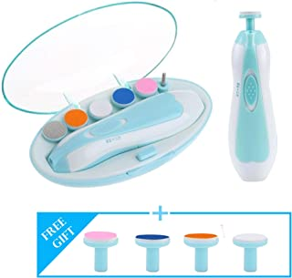 Luxava Baby Electric Nail Trimmer File for Newborn Baby's, Toddlers or Kids Toes and Fingernails, Safe Electric Baby Nail Clipper Kit with LED Light and 10 Grinding Heads (Blue)