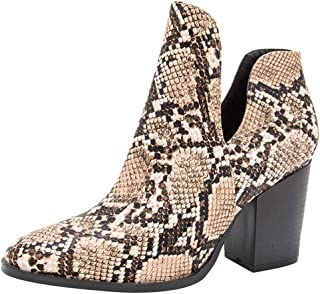 BIKETAFUWY Snakeskin Print Boots Womens Pointed Toe High Chunky Heel Pumps Ankle Boots V Cutout Party Fashion Shoes