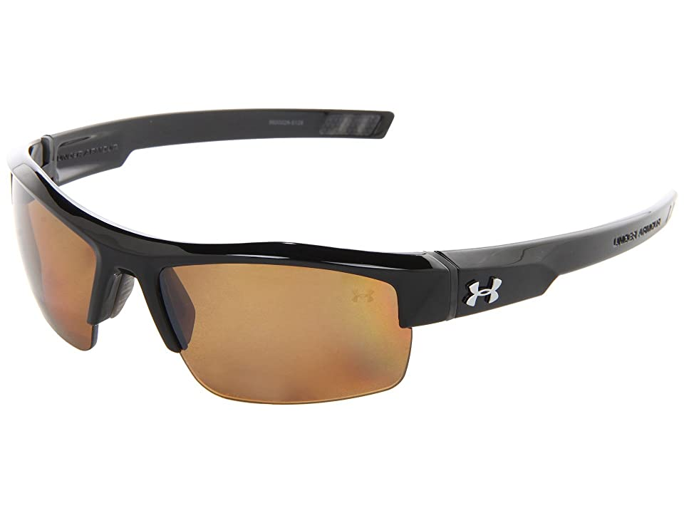 Under Armour UA Igniter Polarized (Shiny Black/Brown Polarized Multiflection) Athletic Performance Sport Sunglasses