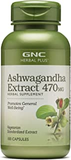 GNC Herbal Plus Ashwagandha Extract 470mg, 100 Capsules, Promotes General Well-Being