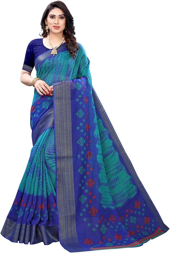 Indian Satrani Women's Poly Cotton Printed, Jari Border Saree with Blouse Piece Saree