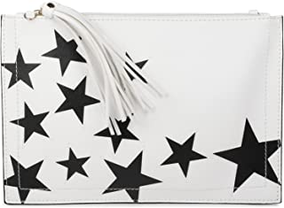 styleBREAKER Clutch mit Sterne Muster, Quasten Anhänger am Reißverschluss, Handschlaufe und Umhängegurt, Damen 02012075, F...