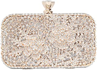 Lanbinxiang @ Women's Luxury Diamond Party Bag Square Openwork Silver Glossy Chain Shoulder Messenger Bag Wedding Gift Bridal Clutch Wallet Size: 20 * 6 * 14.5cm (Color : Gold)