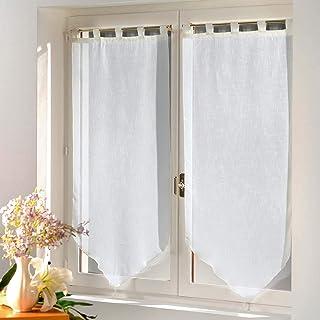 douceur d'intérieur 1361743 Paire Pompon Luminea Uni Blanc lot de 2 rideaux 60x120 cm