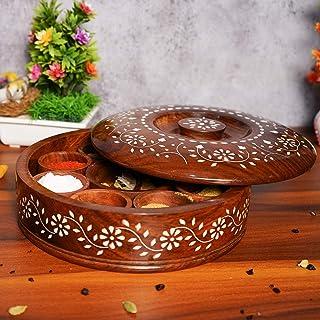 Masala Boîte à épices ronde en bois de sheesham avec cuillère, pour cuisine avec couvercle, décoration faite à la main Mas...
