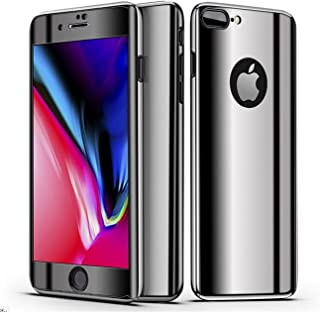 iPhone 7 Plus Case, 3 in 1 360 ° Full Edge Body Plating PC case Ultra Thin Hard Plating Frame Ultra Hybrid Cover with Tempered Glass Fullbody Slim Anti-Drop Case for iPhone 8 Plus (5)