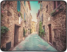YSWPNA Charming Narrow Street in an Old Italian Town of P Pattern Portable and Foldable Blanket Mat 60x78 Inch Handy Mat for Camping Picnic Beach Indoor Outdoor Travel