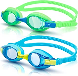 VETOKY Kids Swim Goggles, Pack of 2 Anti Fog Swimming Goggles UV Protection Clear No Leaking for Child and Youth Ages 3-12