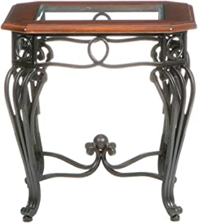 Prentice Side End Table - Elegant Iron Wrought Scrollwork - Dark Cherry w/ Black Finish