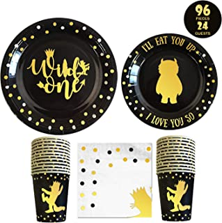 Wild One Birthday Decorations I 96 Pieces - 3 in 1 Wild One Party Supplies I Party Plates I Wild one Napkins I Disposable Cups / Glass I First Birthday Decoration Tableware Supplies