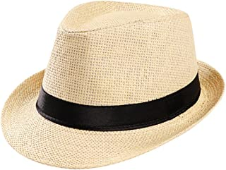 Gorras Gorras de Hombre Mujer Unisex Trilby Gangster Mujer Hombre Sombrero de Paja de Sol de Playa Banda Sombrero para el Sol