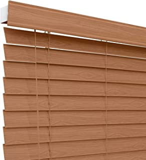 CHICOLOGY Custom-Made 2-inch Faux Wood Blind, Simply Brown,Horizontal Window Shade/Inside Mount, 22