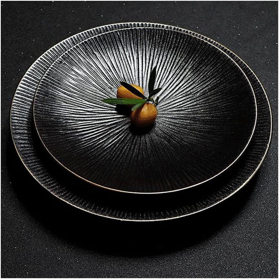 Dinner Plates Matte Black with Gol Porcelain 35% Atlanta Mall OFF Round