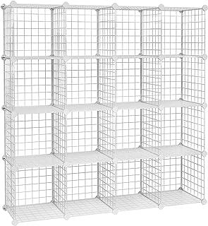 SONGMICS Armario Modular de Alambre metálico con 16 Cubos, Montaje en Bricolaje, Aramario de Almacenamiento, Estantería modulable, Estantería de Malla de Alambre, Blanco LPI44W