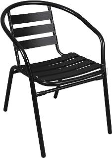 thesecrethome.es Silla Aluminio Negra. Ideal para TU Jardin O TERRAZA. (73 x 57 x 54 cm)