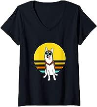 Womens Red and Brown Alaskan Klee Kai or Mini Husky summer sunset V-Neck T-Shirt