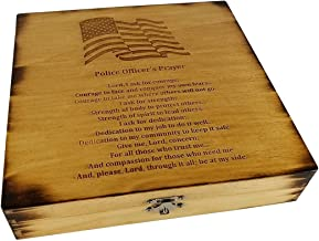 Police Officer Gift Keepsake Box - American Flag with Police Officer's Prayer-Oak Stained-Thin Blue Line Felt