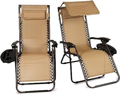 Amazon Com Belleze Set Of 2 Outdoor Patio Zero Gravity Chairs Lounge Seat Recliner Yard Backyard Garden Beach Cup Holder Device Tray Beige Garden Outdoor