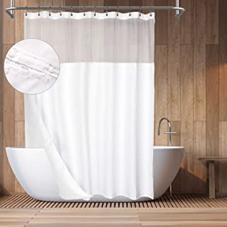 Hotel Style Cotton Shower Curtain with Snap-in Fabric Liner, Mesh Window Top, Honeycomb Waffle Weave Cotton Blend Fabric, ...