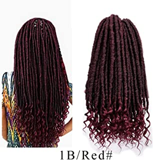 Faux Locs Crochet Hair With Curly Ends Goddess Locs Synthetic Braiding Hair Extensions Dreadlocks Crochet Braid Hairs,M1b/red,16inches,5Pcs/Lot