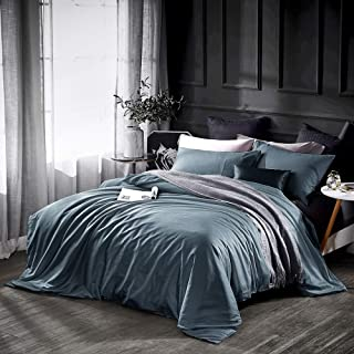 Dazzfond Duvet Cover Queen, Egyptian Cotton 3 Piece Luxury Bedding Set- Zipper Closure & Corner Ties, Solid Color Breathable Washable Comforter Protector (Ocean Teal),