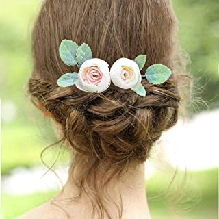 Fangsen Wedding Flower Hair Comb Wedding Bridal Headpiece Woodland Wedding Hair Accessories for Brides and Bridesmaids (White)