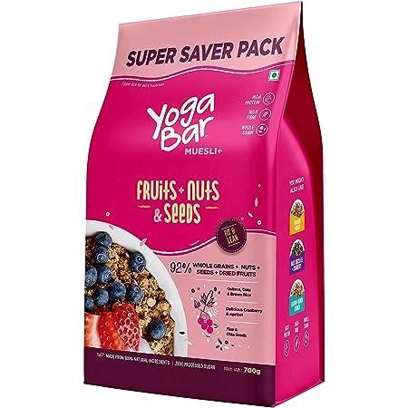 Yogabar Wholegrain Breakfast Muesli Fruits, Nuts + Seeds, 700 g (Super Saver Pack)