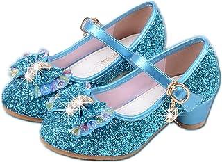 192785a8a522a YOGLY Babies Fille Chaussure à Talon Enfant Ballerine Princesse avec  Paillettes Noeud Papillon Chausson Maryjane