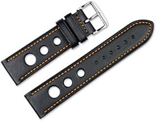 Replacement Leather Watch Band - Leather Grand Prix - Black w/ orange stitching - 20mm