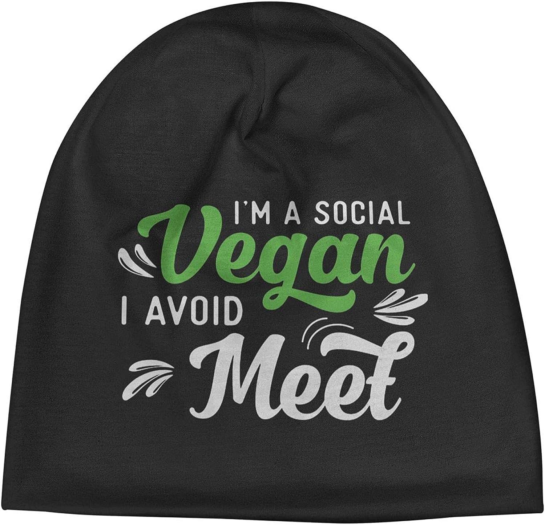 Social Vegan I Popular standard Avoid Meet2 Slogan Washington Mall Unisex Beanie Hats Cap Vi Warm