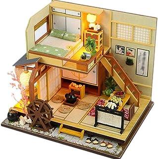 XYZMDJ miniatyrdockhus, gör-det-själv dockkjolar skog litet hus med damm, trädockhus