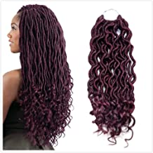 MOBOK 6Pcs/Lot Goddess Locs Faux Locs Crochet Twist Braiding Soft Synthetic Hair Extension (14inch(6-PACKS), 99J)