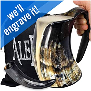 AleHorn Drinking Horn Tankard with Handle- XL - Genuine Handcrafted Beer Mug for Ale, Mead - Food Safe - Medieval Style Inspired by Game of Thrones - Great Gift