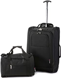5 Cities Ryanair Cabin Approved Main and Second Set - Carry On Both! Hand Luggage, 55x35x20cm, 42.0 L, Black