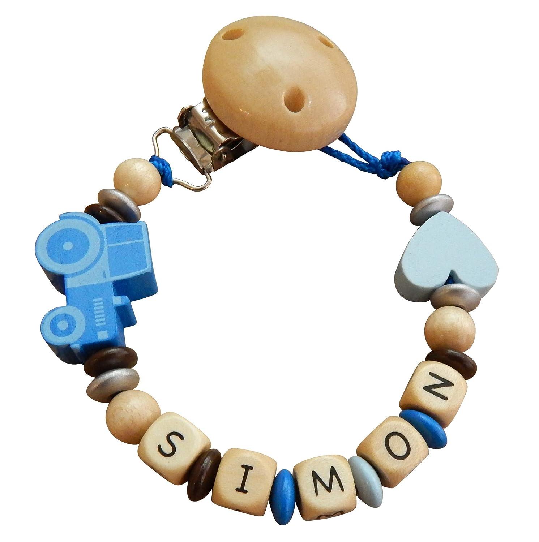 Blauer-Storch Schnullerkette Halter f/ür den Schnuller mit Namen Traktor Herz Geschenk zur Geburt Taufe Baby Junge Holz Traktor in Gold