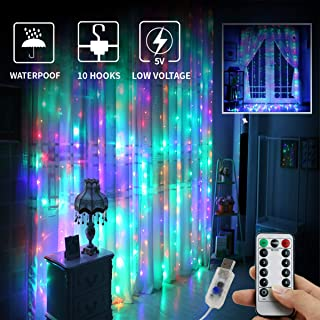 Juhefa Window Curtain Lights 300 LED,USB Powered Fairy String Lights with Remote, IP64 Waterproof & 8 Settings Twinkle Lights for Christmas,Parties,Weddings,Wall Decorations (9.8x9.8Ft Multi-Color)