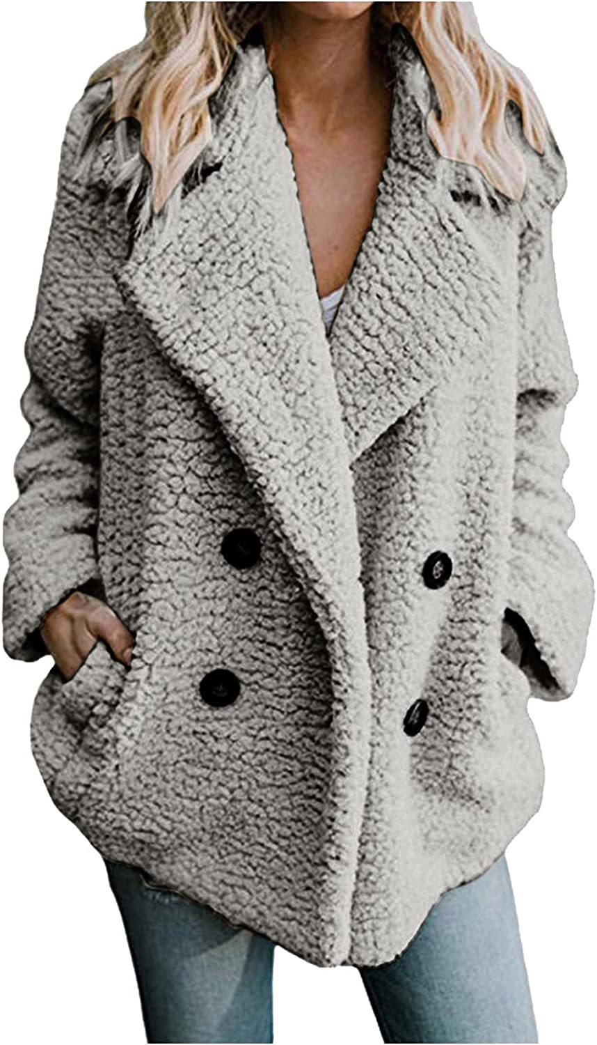 Womens Winter Fleece Open Front Sherpa Coat Casual Lapel Fuzzy Jacket Oversized Cardigan Thick sweater Outerwear with Pocket