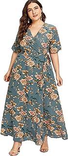 Romwe Women's Plus Size Floral Print Buttons Short Sleeve V Neck Flare Flowy Maxi Dress