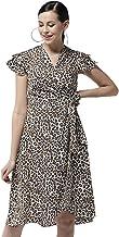 StyleStone Women's Polyester Animal Print Wrap Dress