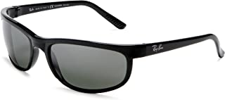 RAY-BAN Men's RB2027 Predator 2 Rectangular Sunglasses, Black/Polarized Grey Mirror, 62 mm