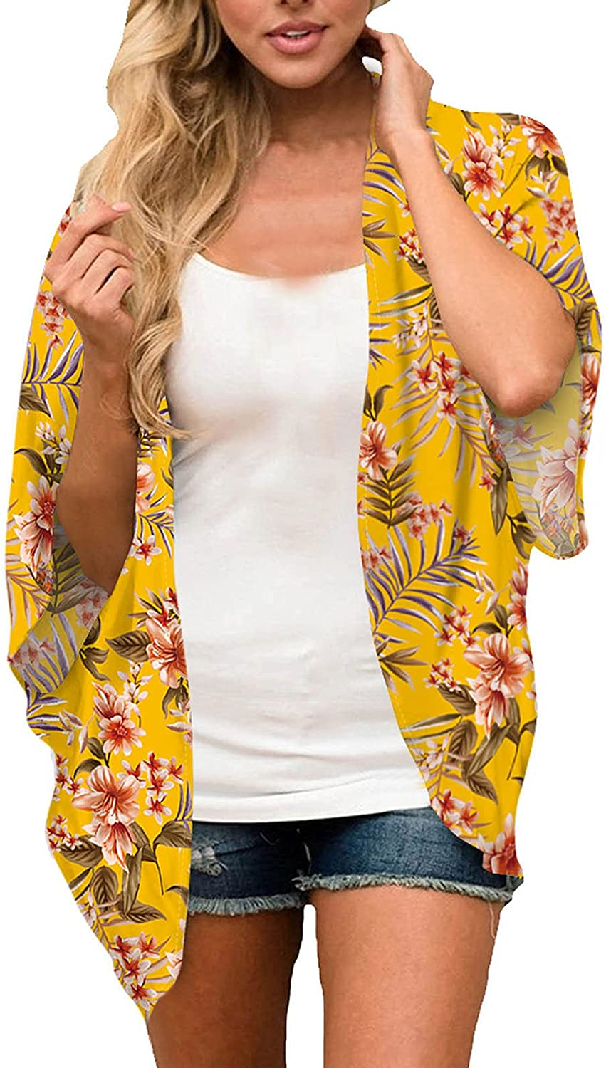 Womens Summer Floral Printing Middle Sleeve Chiffon Cardigan Gradient Color Lightweight Beach Kimono Blouse Tops